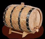 Бочка дубовая с гравировкой в оплётке, 15 л
